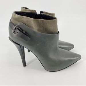 Kenneth Cole grey leather high heel ankle boots
